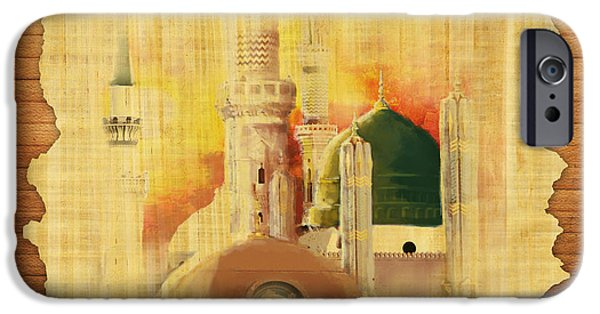 Darud Paintings iPhone Cases - Masjid e Nabwi 02 iPhone Case by Catf