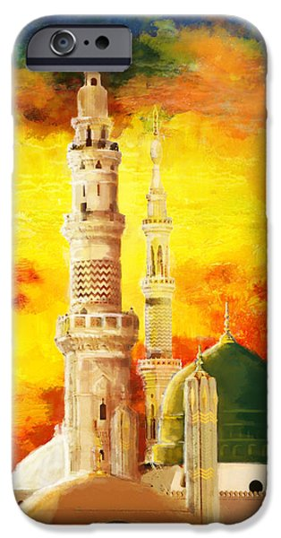 Jordan iPhone Cases - Masjid e nabwi iPhone Case by Catf