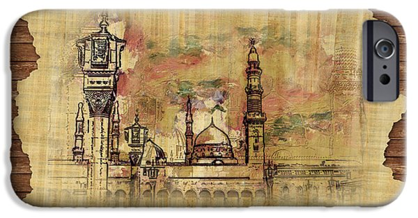 Darud Paintings iPhone Cases - Masjid e Nabwi Sketch iPhone Case by Catf
