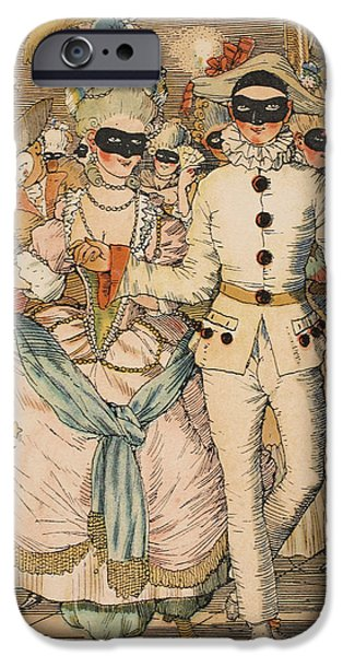 Fine Drawings iPhone Cases - Masked Ball iPhone Case by Konstantin Andreevic Somov