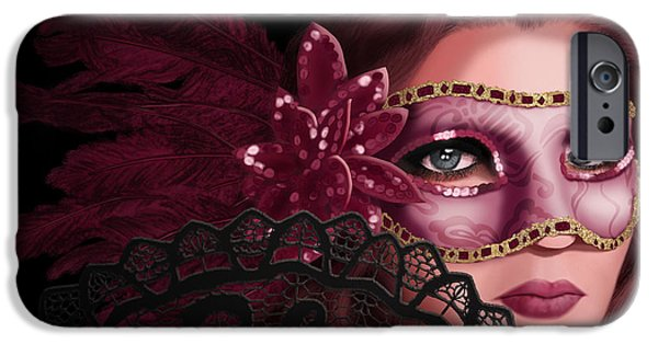 Auburn iPhone Cases - Masked I iPhone Case by April Moen
