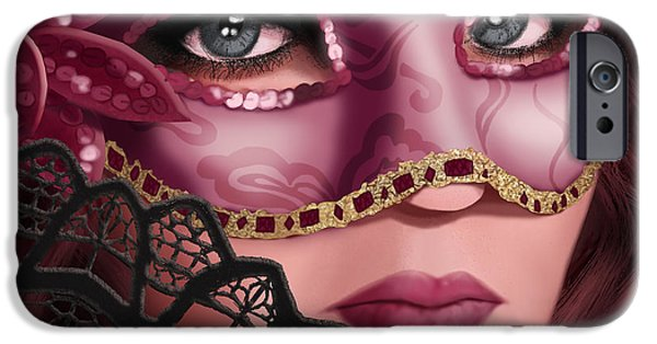 Auburn iPhone Cases - Masked II iPhone Case by April Moen