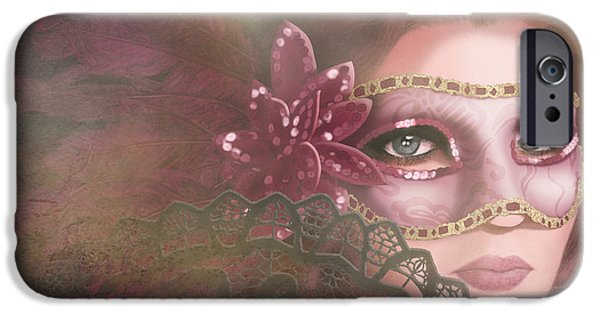 Red-haired Women iPhone Cases - Masked III iPhone Case by April Moen