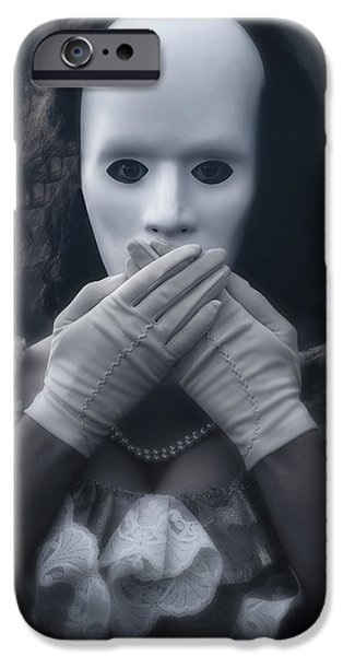 Eerie Photographs iPhone Cases - Masked Woman iPhone Case by Joana Kruse