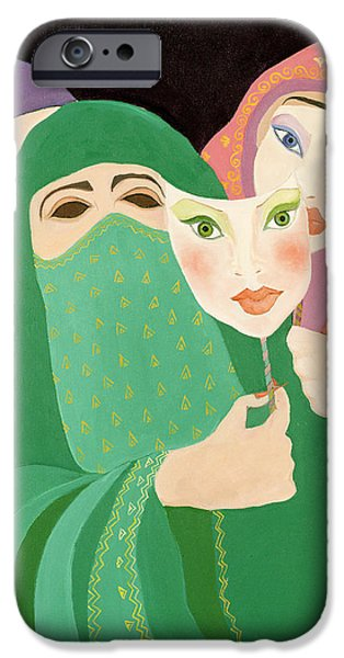 Eerie iPhone Cases - Masks, 1989 Acrylic On Canvas iPhone Case by Laila Shawa