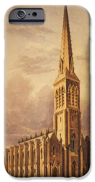 Christ Drawings iPhone Cases - Masonry church circa 1850 iPhone Case by Aged Pixel