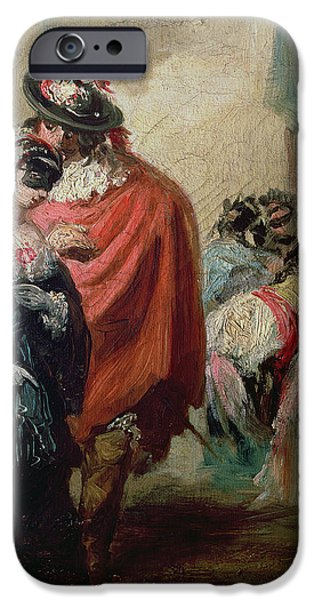 Masks iPhone Cases - Masquerade Oil On Canvas iPhone Case by Eugenio Lucas y Padilla