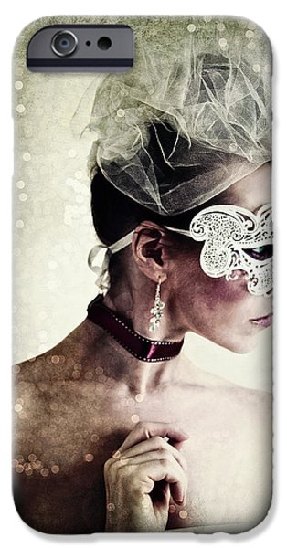 Choker iPhone Cases - Masquerade iPhone Case by Spokenin RED