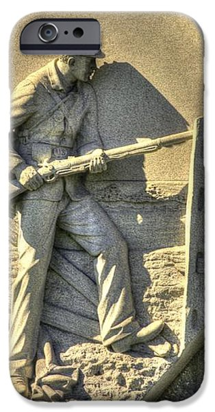 Massachusetts at Gettysburg 1st Mass. Volunteer Infantry Skirmishers Close 1 Steinwehr Ave Autumn iPhone Case by Michael Mazaika