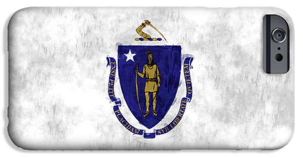 Massachusetts State Flag Digital iPhone Cases - Massachusetts Flag iPhone Case by World Art Prints And Designs