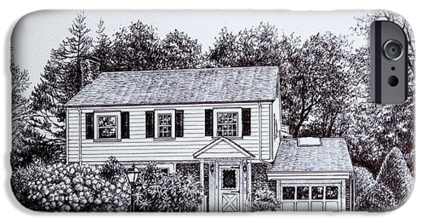 Pen And Ink iPhone Cases - Massachusetts House Drawing iPhone Case by Hanne Lore Koehler