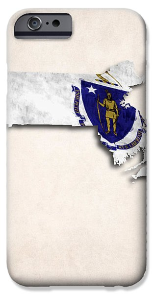Massachusetts State Flag Digital iPhone Cases - Massachusetts Map Art with Flag Design iPhone Case by World Art Prints And Designs