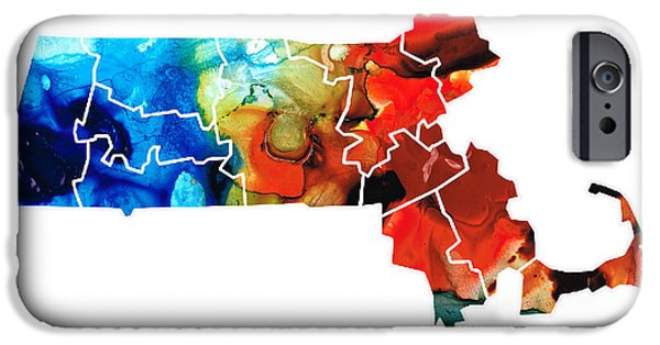Red Sox Mixed Media iPhone Cases - Massachusetts - Map Counties By Sharon Cummings iPhone Case by Sharon Cummings