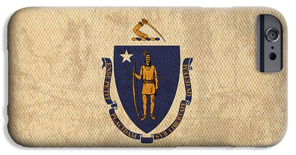Boston Mixed Media iPhone Cases - Massachusetts State Flag Art on Worn Canvas iPhone Case by Design Turnpike