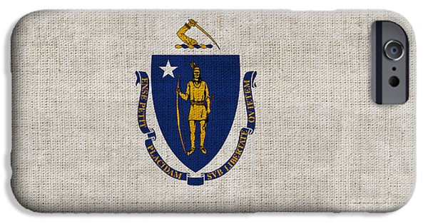 Declaration Of Independence Digital iPhone Cases - Massachusetts State Flag iPhone Case by Pixel Chimp
