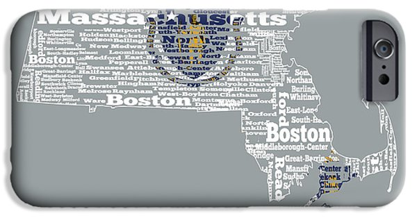 Old Glory iPhone Cases - Massachusetts State Flag Word Cloud iPhone Case by Brian Reaves