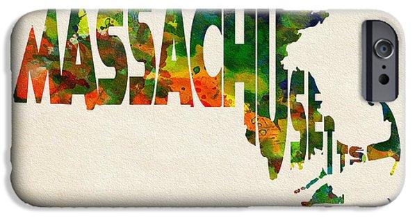 Massachusetts State Flag Digital iPhone Cases - Massachusetts Typographic Watercolor Map iPhone Case by Ayse Deniz