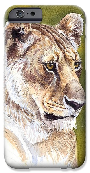 Lioness iPhone Cases - Massai Queen iPhone Case by Aaron Blaise