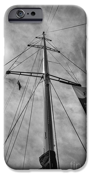 Hobart iPhone Cases - Mast of yacht iPhone Case by Sheila Smart
