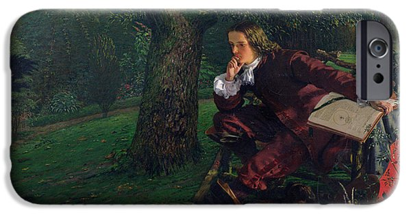 Thinking iPhone Cases - Master Isaac Newton, 1905 Oil On Canvas iPhone Case by Robert Hannah