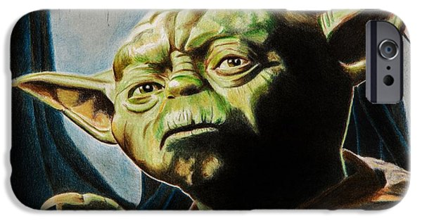 Science Fiction Drawings iPhone Cases - Master Yoda iPhone Case by Brian Broadway