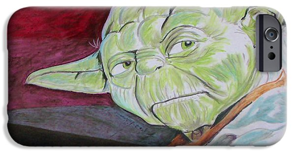 Science Fiction Pastels iPhone Cases - Master Yoda iPhone Case by Jeremy Moore
