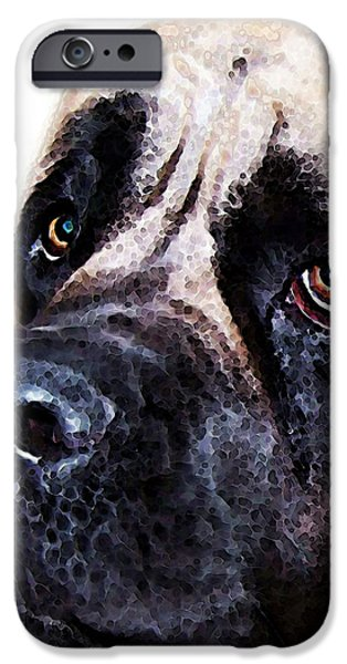 Funny Dog Digital Art iPhone Cases - Mastiff Dog Art - Sad Eyes iPhone Case by Sharon Cummings