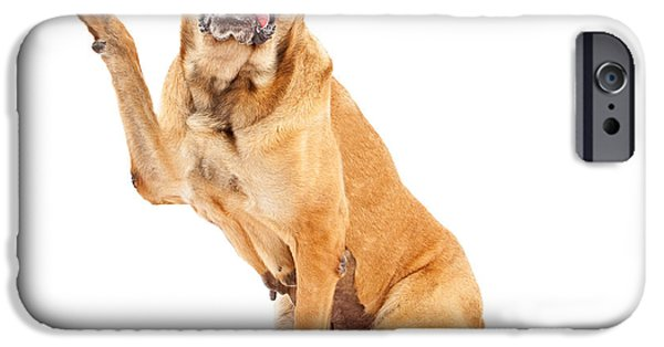 Mastiff Dog iPhone Cases - Mastiff Dog With Paw in Peace Sign iPhone Case by Susan  Schmitz
