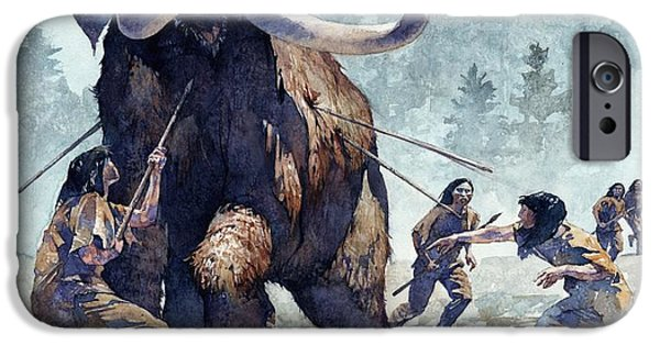 Extinct iPhone Cases - Mastodon Hunt iPhone Case by Greg Harlin