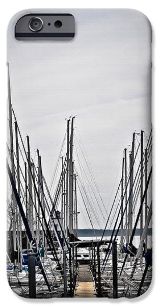 Sailboats iPhone Cases - Masts iPhone Case by Greg Jackson