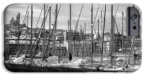 Sailboats In Water iPhone Cases - Masts in the Harbor iPhone Case by John Rizzuto