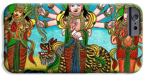 Hindu Goddess iPhone Cases - Mata Durga iPhone Case by Ashok Kumar