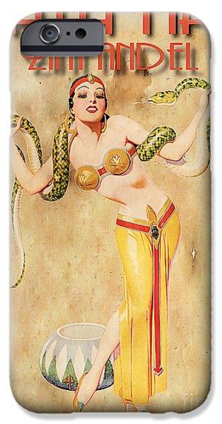 Harem iPhone Cases - Mata Hari Vintage Wine Ad iPhone Case by Cinema Photography