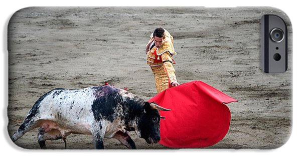 Young Man Photographs iPhone Cases - Matador And A Bull In A Bullring, Lima iPhone Case by Panoramic Images
