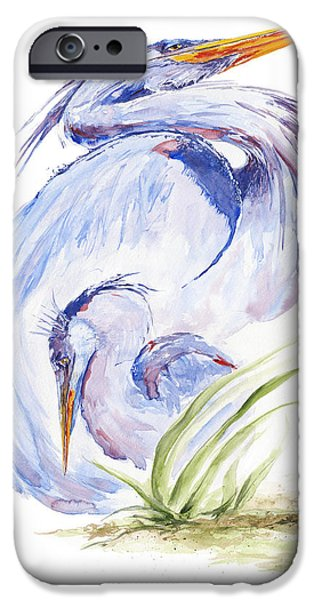 Baby Bird iPhone Cases - Maternal Heron iPhone Case by Eve McCauley