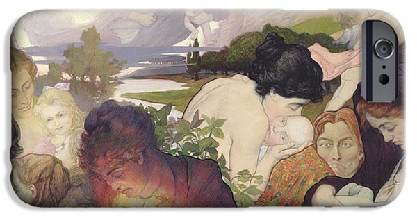 Child iPhone Cases - Maternity, 1893 Oil On Canvas iPhone Case by Charles Maurin
