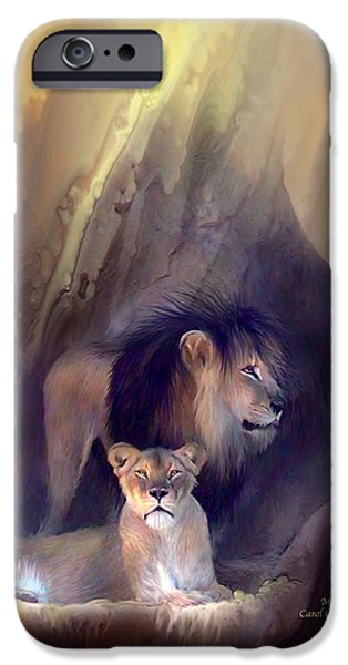 Lion Print iPhone Cases - Mates iPhone Case by Carol Cavalaris