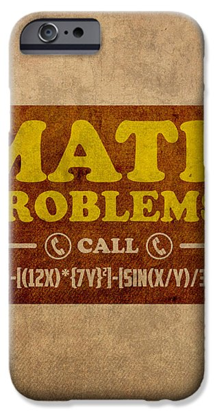 Math iPhone Cases - Math Problems Hotline Retro Humor Art Poster iPhone Case by Design Turnpike