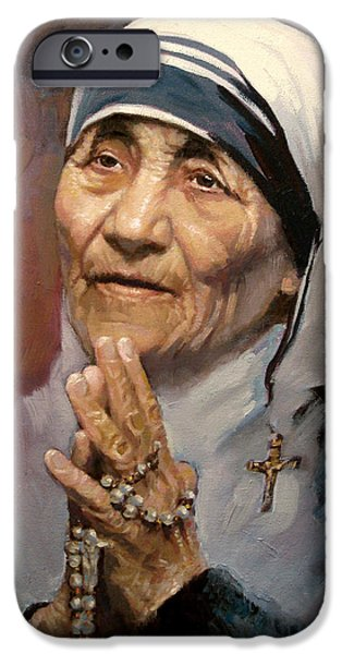 Portrait Paintings iPhone Cases - Mather Teresa iPhone Case by Ylli Haruni