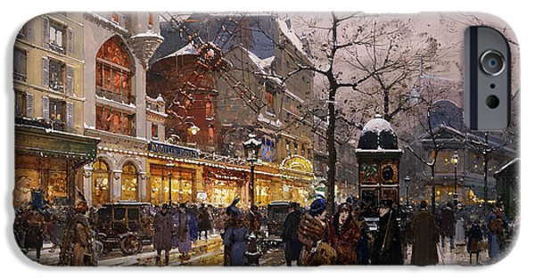 Mid Adult iPhone Cases - Matinee au Moulin Rouge Paris iPhone Case by Eugene Galien-Laloue