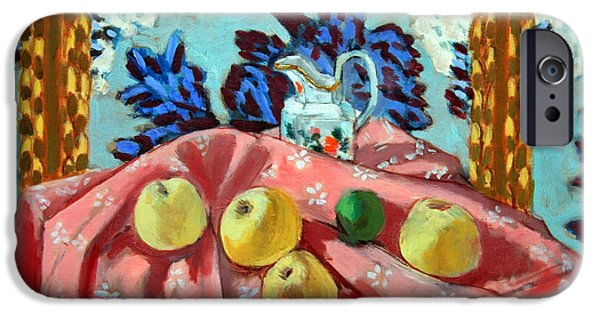 Cora Wandel iPhone Cases - Matisses Still Life With Apples On A Pink Tablecloth iPhone Case by Cora Wandel
