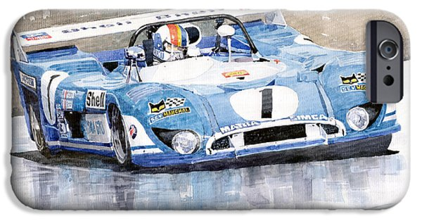 Racing iPhone Cases - Matra Simca 670 Francois Cevert iPhone Case by Yuriy  Shevchuk