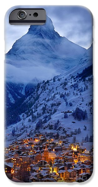 Snowy Night iPhone Cases - Matterhorn at Twilight iPhone Case by Brian Jannsen