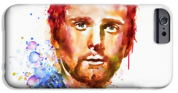 Marian iPhone Cases - Matthew Bellamy watercolor iPhone Case by Marian Voicu