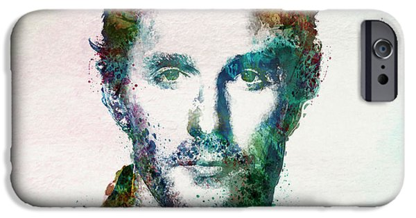 Marian iPhone Cases - Matthew McConaughey watercolor iPhone Case by Marian Voicu