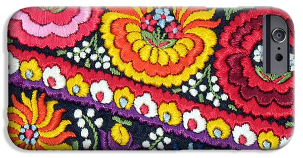 Andrea Lazar iPhone Cases - Hungarian Matyo Szentgyorgy Folk Embroidery Photographic Print iPhone Case by  Andrea Lazar