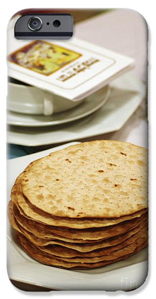 Psi iPhone Cases - Matza and Haggada for pesach iPhone Case by Ilan Rosen