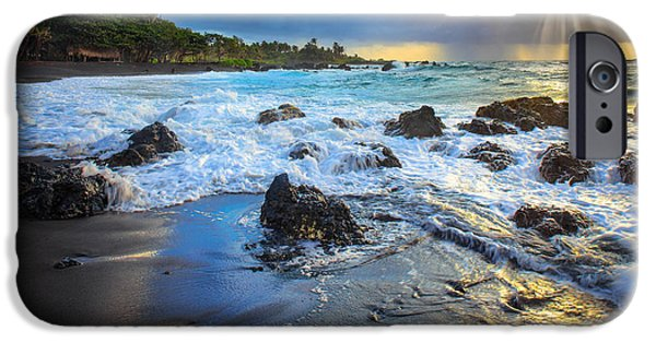 Wavy iPhone Cases - Maui Dawn iPhone Case by Inge Johnsson