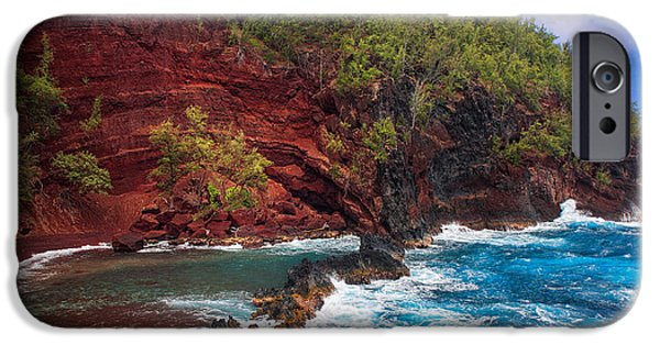 Wavy iPhone Cases - Maui Red Sand Beach iPhone Case by Inge Johnsson