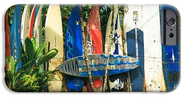 Sharon Mau iPhone Cases - Maui Surfboard Fence - Peahi Hawaii iPhone Case by Sharon Mau